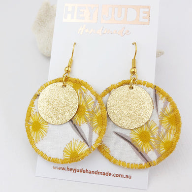 Fabric Dangle Earrings-Golden Wattle Print with gold-Hey Jude Handmade
