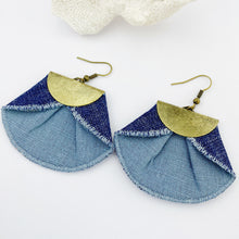 Load image into Gallery viewer, Statement Earrings-Pleated Denim Dangles-Duck Egg Blue linen in fan shape-dark denim reverse-antique bronze half moon feature-bronze ear wires-Hey Jude Handmade