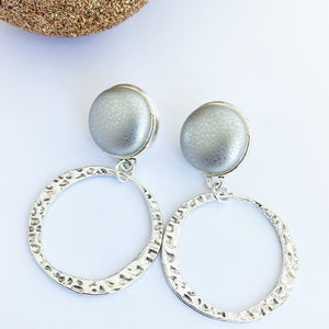 Antique Silver Hoop Earrings