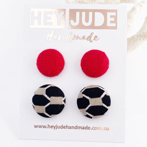 Fabric covered Button Stud Earrings-2 pack of small and medium sized Studs-Hot Cherry Red Linen + Black Taupe pattern-Hey Jude Handmade