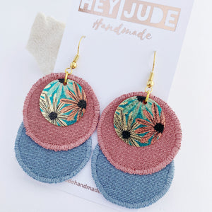 Rustic Stitched Linen Duo Dangle Earrings-Dusky Rose + Duck Egg Blue Linen- with Aqua and pink small round embellishment-Gold coloured ear wires-Hey Jude Handmade