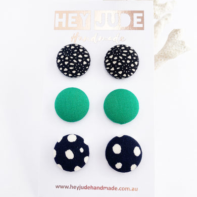 Fabric Button Stud Earrings-3 pack of medium sized Studs-Black pattern, Vivid Green, Ink white spots-Hey Jude Handmade