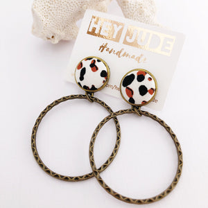 White Animal Print Stud Dangles, Bronze Hoop Earrings