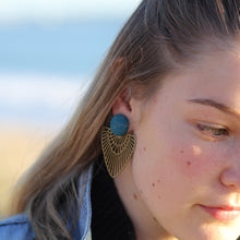 Load image into Gallery viewer, Close up model wearing Teal Stud, Bronze Fan Statement Earrings