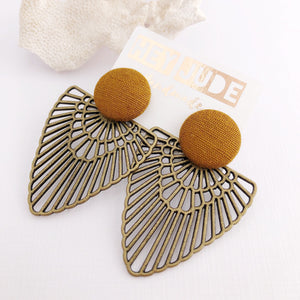 Mustard Gold Stud, Bronze Fan Statement Earrings