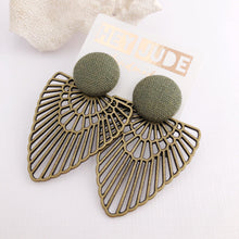 Load image into Gallery viewer, Green Stud, Bronze Fan Statement Earrings