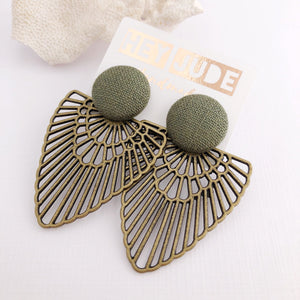 Green Stud, Bronze Fan Statement Earrings