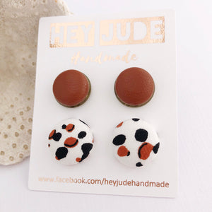 Stud Set Leatherette Bezels + Fabric Studs