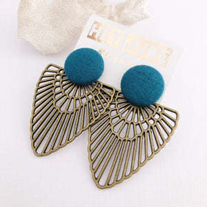 Teal Stud, Bronze Fan Statement Earrings