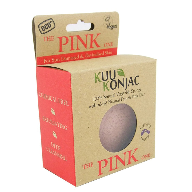 KUU Konjac Sponge with French Pink Clay : Tired, Devitalised or Sun Exposed Skin-Kuu Konjac-Someday Green Co