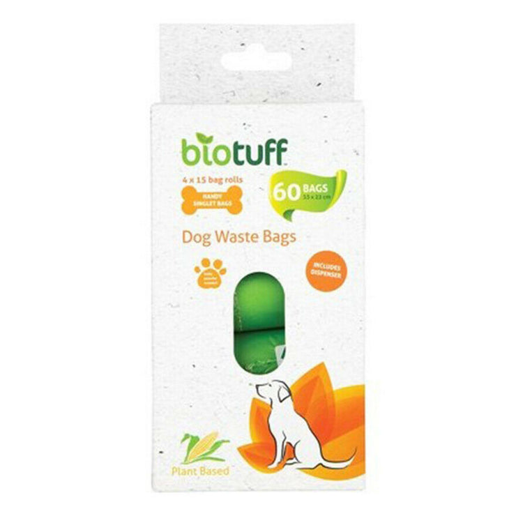 Biotuff - Compostable Dog Waste Bags (4 rolls) with dispenser-Biotuff-Someday Green Co