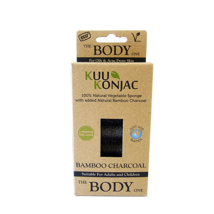 KUU Konjac 6 Wave Bamboo Charcoal Body Sponge-Kuu Konjac-Someday Green Co