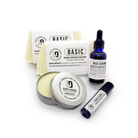 BASIC Bundle - Secretly Obvious Organic Holistic Natural Skincare Soap Serum Shea Butter Sunscreens for cystic acne scars
