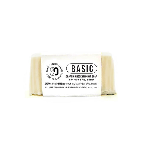 BASIC Bar Soap - Secretly Obvious Organic Holistic Natural Skincare Soap Serum Shea Butter Sunscreens for cystic acne scars