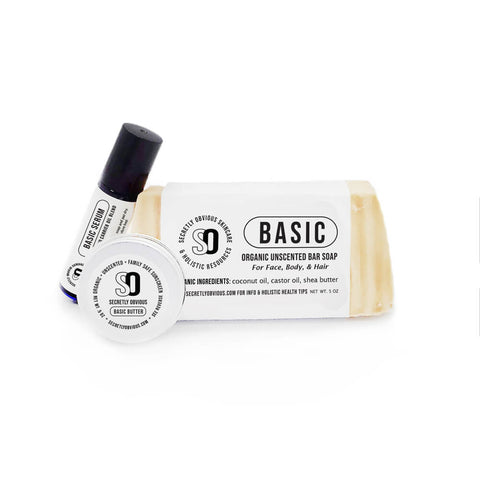BASIC Starter Bundle - Secretly Obvious Organic Holistic Natural Skincare Soap Serum Shea Butter Sunscreens for cystic acne scars