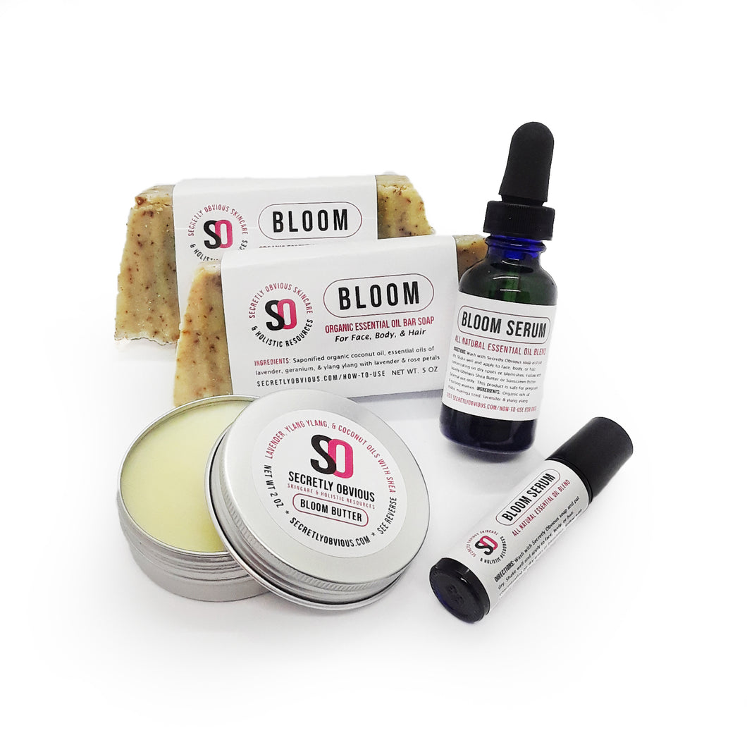 Secretly Obvious Bloom Bundle for women, safe for pregnancy and breastfeeding, to balance hormones, acne, stretch marks, drys kin, and pms