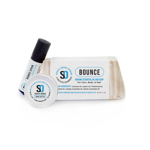 BOUNCE Starter Bundle - Secretly Obvious Organic Holistic Natural Skincare Soap Serum Shea Butter Sunscreens for cystic acne scars