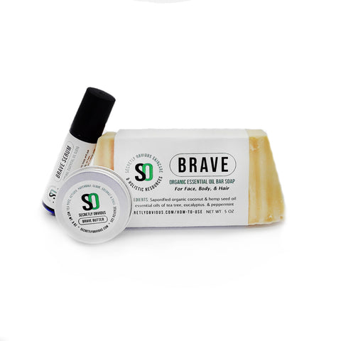 BRAVE Starter Bundle - Secretly Obvious Organic Holistic Natural Skincare Soap Serum Shea Butter Sunscreens for cystic acne scars