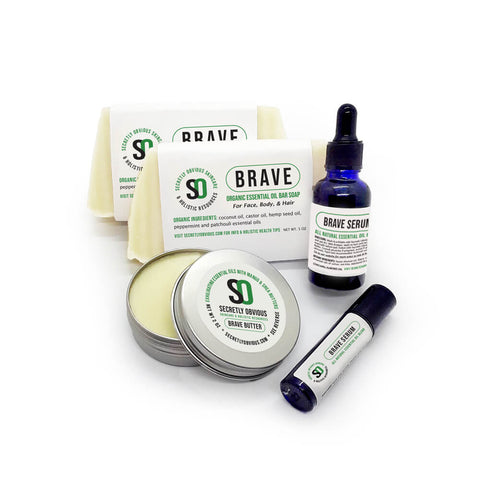 BRAVE Bundle - Secretly Obvious Organic Holistic Natural Skincare Soap Serum Shea Butter Sunscreens for cystic acne scars