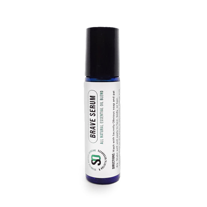 Secretly Obvious BRAVE Serum Roller for acne, fungal infection, congestion, anxiety, insect repellent, dandruff, and inflammation made from essential oil