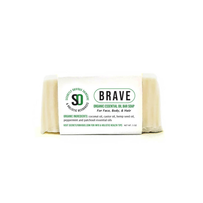 Secretly Obvious BRAVE Bar soap for men and women to combat acne, fungal infection, congestion, anxiety, insect repellent, dandruff, and inflammation made from essential oils