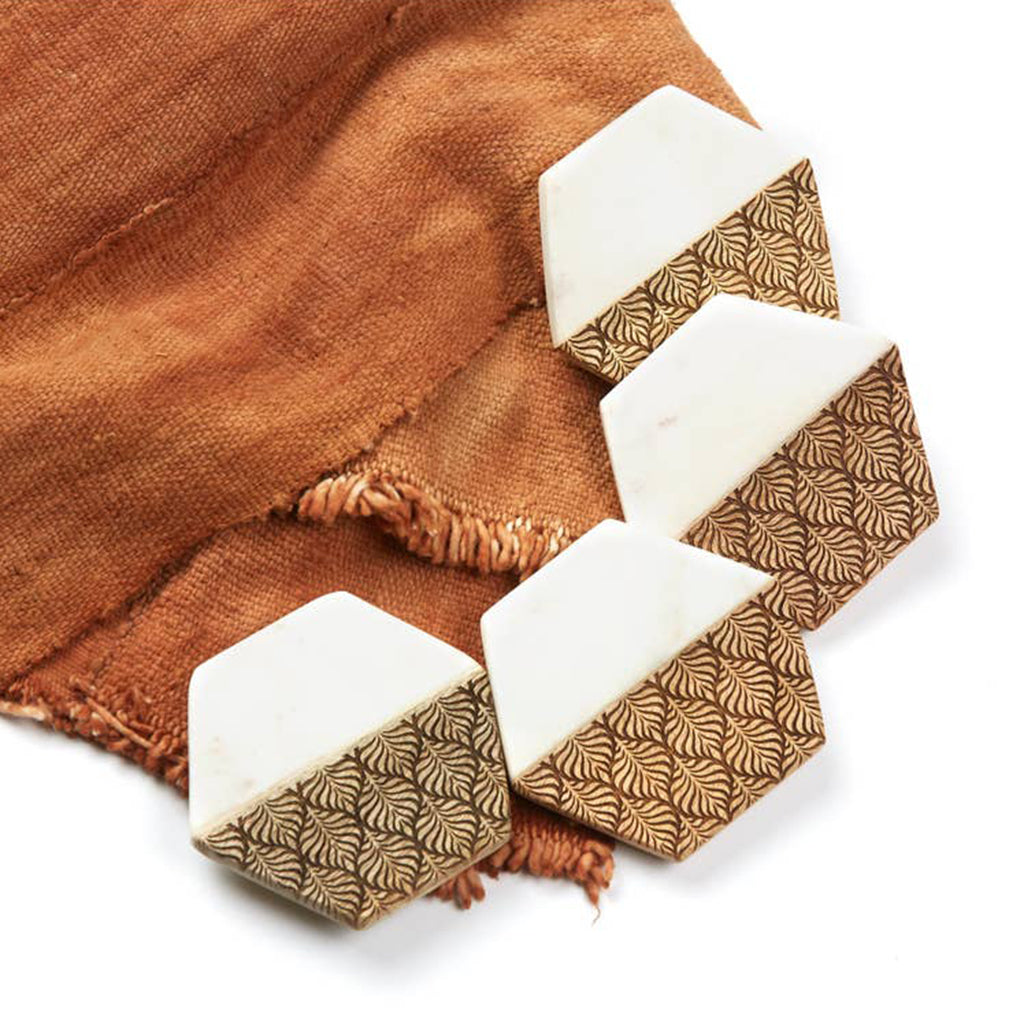 Hexagon Marble & Wood Coaster Set - Salix Intimates