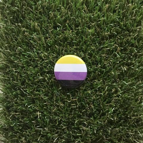 Non Binary Pride Flag Pin-back Button - Salix Intimates