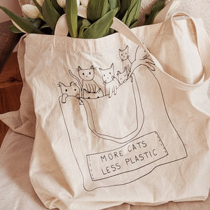More Cats Printed Cotton Tote Bag