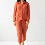 Woven Patch Pocket Long Pajamas