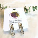 Pressed Flower Long Oval Silver Studs - Salix Intimates