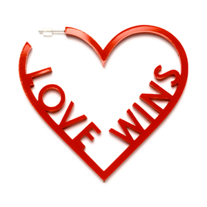 Love Wins Heart Hoop Earrings