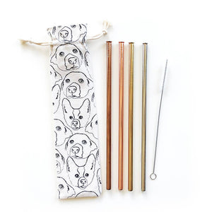 Love Your Dog Reusable Metal Straw Set - Salix Intimates