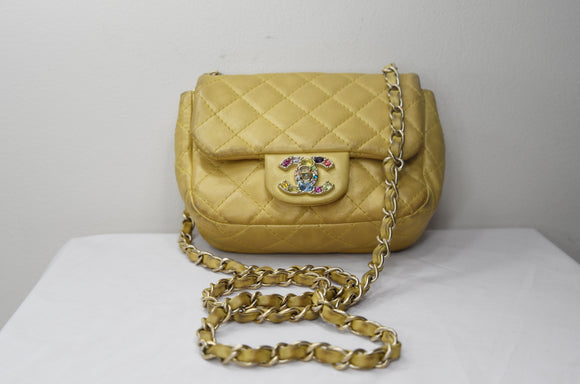 c3dbf031981 Chanel Leather Mini Yellow Double Flap Bag with Rhinestone Hardware -  Dyva s Closet