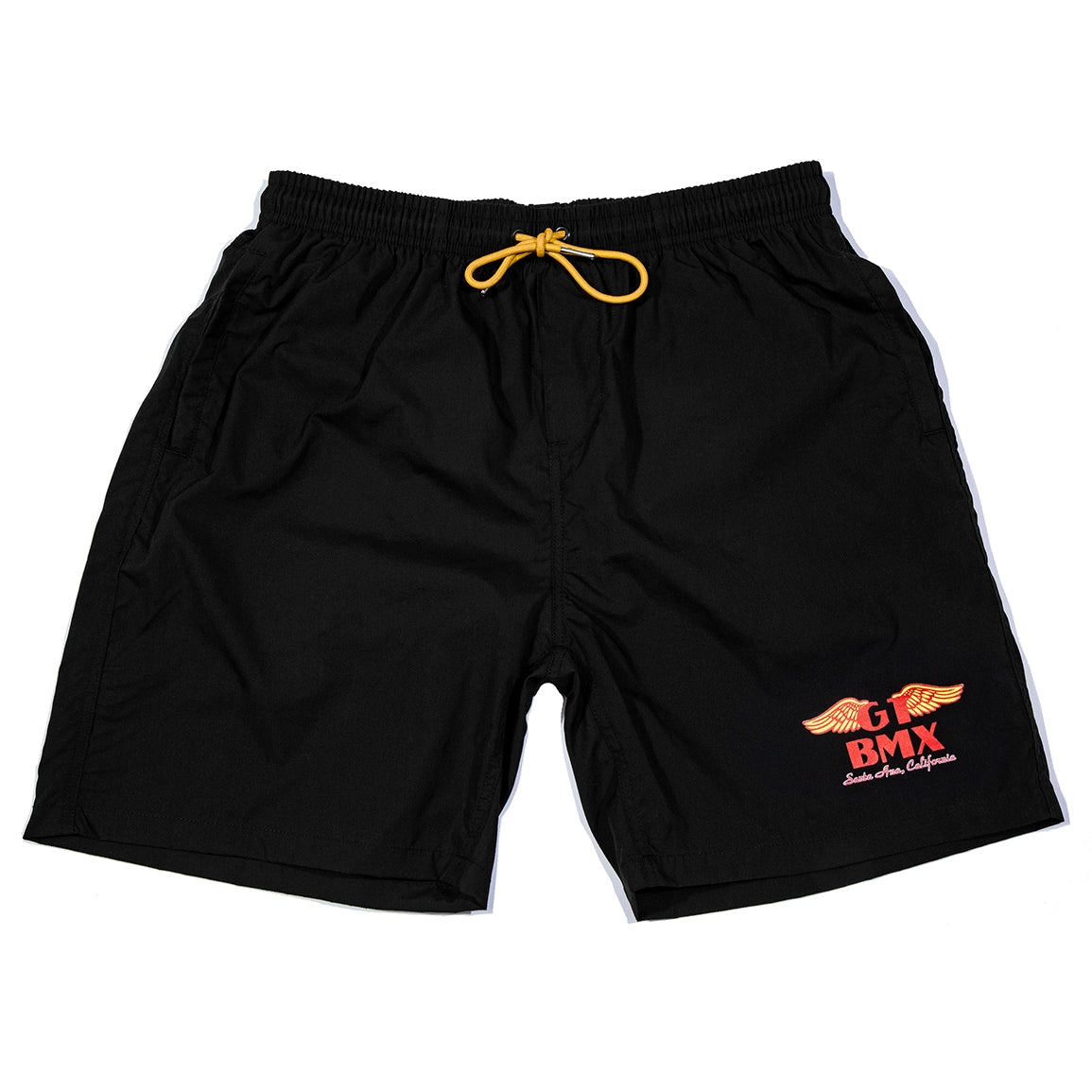 GT Classic Wings BMX Shorts - Black w/ Red & Yellow