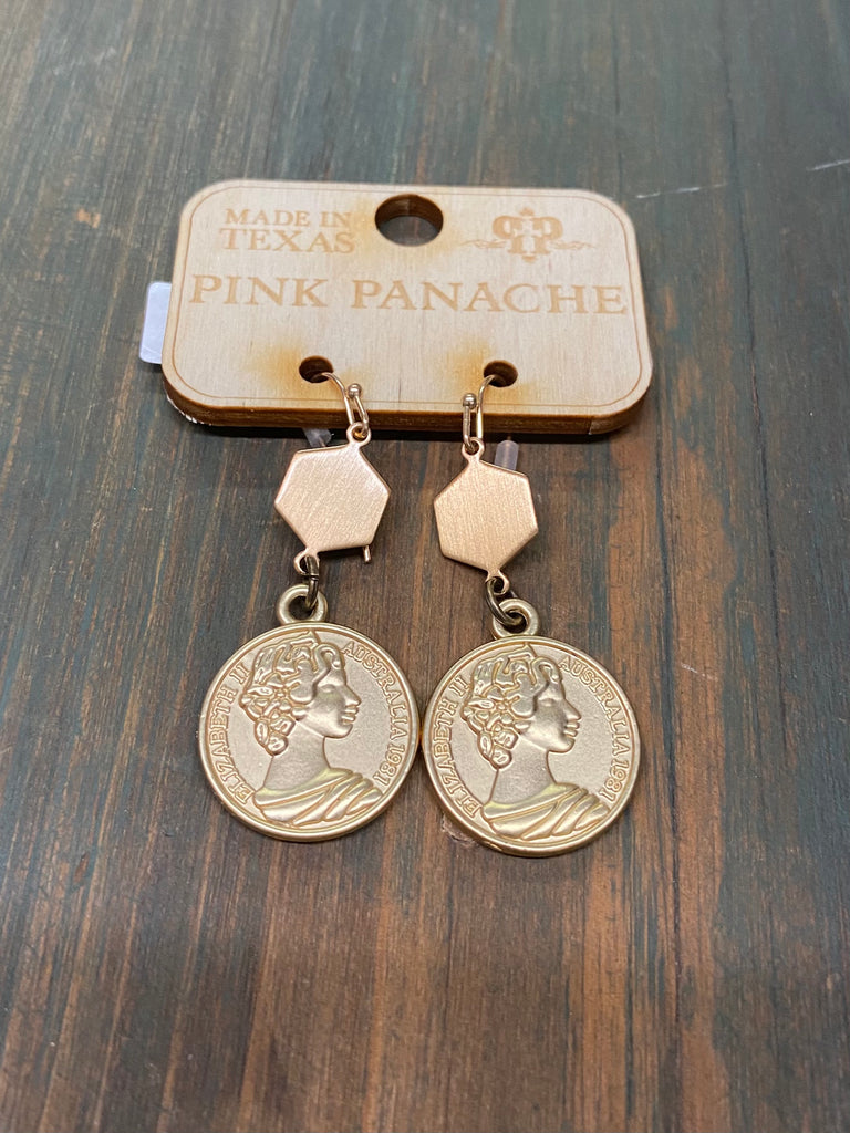 PINK PANACHE GOLD COIN EARRINGS