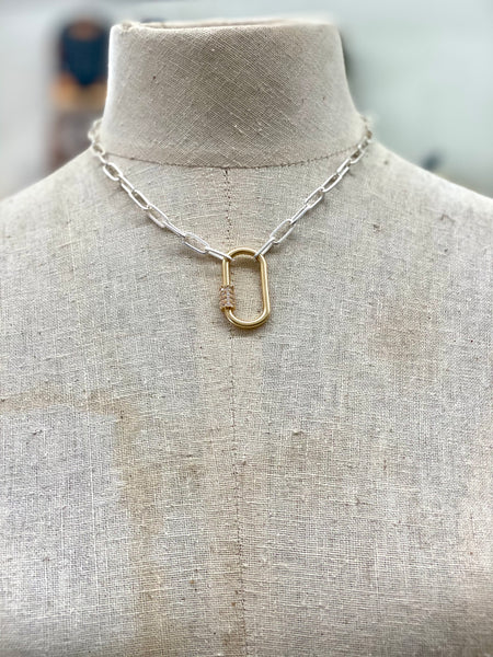 POSH JEWELRY CO. SILVER CHAIN W/GOLD ACCENT