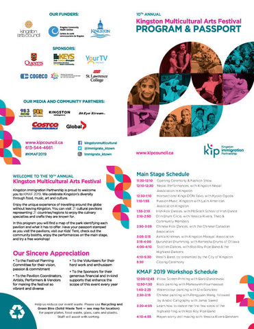 Join us for the 10th Annual Kingston Multicultural Arts Festival on September 8th at Confederation Park from 11:30-5:30