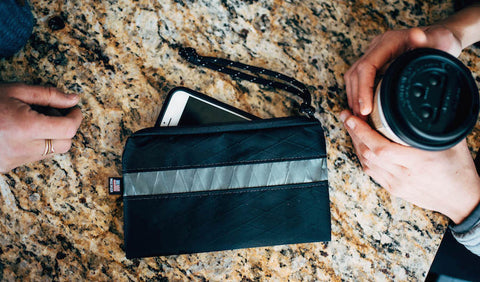 Flowfold x LLBean Collaboration Collection Wristlet Wrist Pouch for Women in Black and Grey