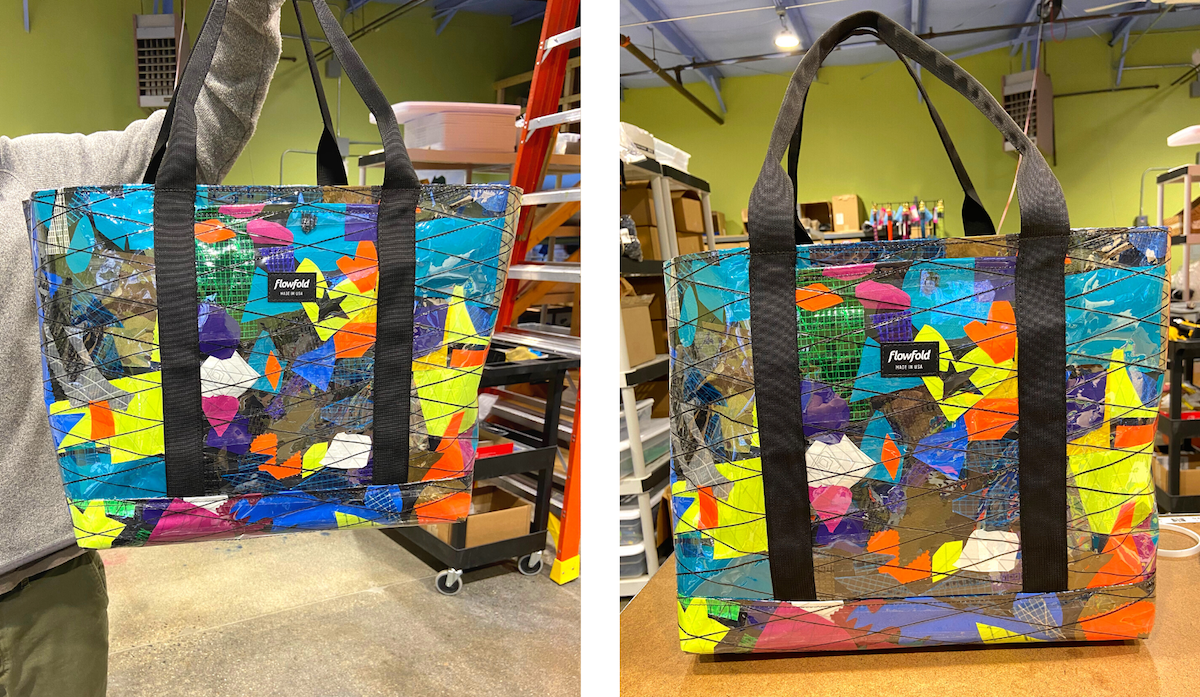 flowfold recycled sailcloth scrap fabric tote bag