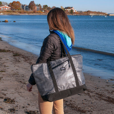 Flowfold Heather Grey Mammoth 29L Zipper Tote Bag with Side Access Zipper Pocket