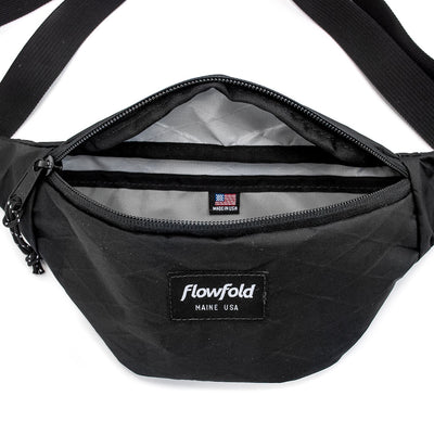 Flowfold Jet Black Rebel X-Pac Fanny Pack Interior Pocket