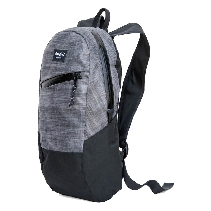 Flowfold Heather Grey Optimist 10L Mini Backpack for Hiking with Front Zipper Pocket