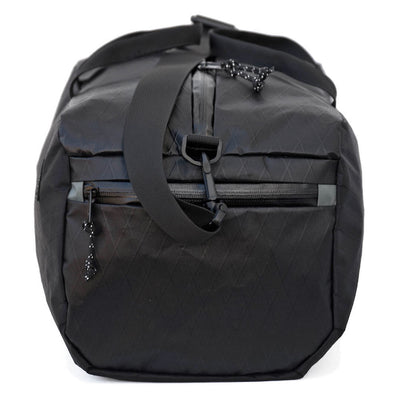 Flowfold Jet Black Nomad 24L Packable Duffle Bag with Stuff Sack Side View