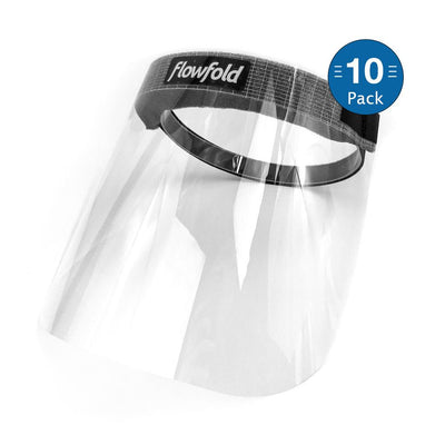Flowfold Face Shields 10-Pack Bulk Plastic Face Shields, Anti-Fog Clear Face Shield Masks
