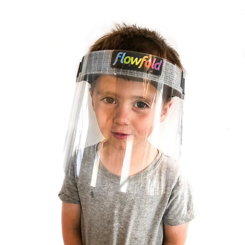 Flowfold Kids Face Shields 4-Pack Plastic Face Shields, Anti-Fog Clear Face Shields for Children and Students