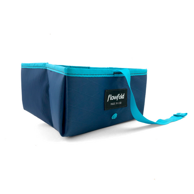 Flowfold Navy Blue Trailmate Dog Travel Bowl with aqua edges
