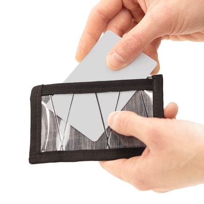 Flowfold Minimalist ID Card Holder For Cards and Cash Made in USA - Clear sleeve for commuter card