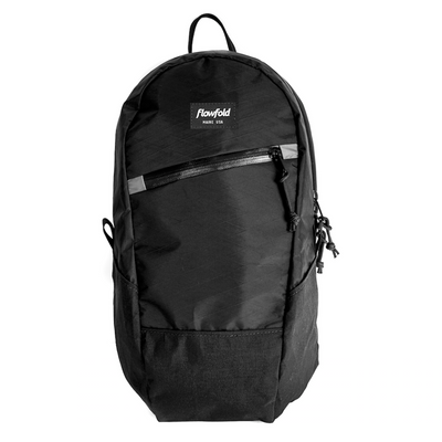 Flowfold Jet Black Optimist 10L Mini Day Backpack with Front Zipper Pocket