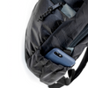 Flowfold 18L Optimist large backpack with water bottle sleeves close up with phone in pocket