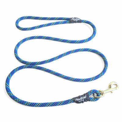 Flowfold Blue Orchid Trailmate Recycled Climbing Rope Dog Leash 6 Feet Made in USA